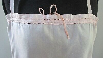 fine antique 1920s corset cover/camisole pink silk ribbon straps straight cut 36