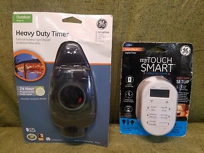 LOT OF 2 GE TIMERS 1 Indoor DIGITAL, 1 Outdoor  MECHANICAL  🤗BRAND NEW🤗   FS&H