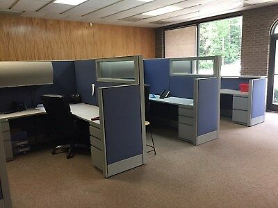 Office cubicles set of 8 with desk drawers and cabinets. Haworth Cubicles