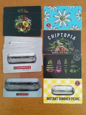 10 Zero Value Chipotle Gift Cards Chiptopia Rewards Card