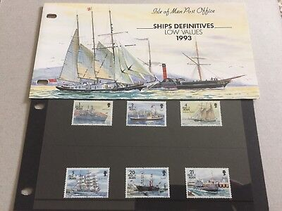 Isle Of Man 1993 Ships Definitives Low Values Presentation Pack
