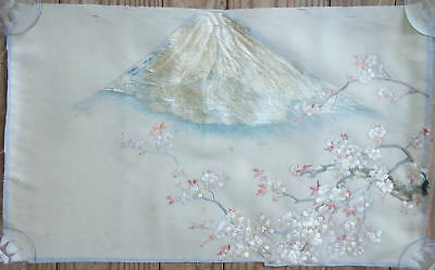 Antique Japanese Silk Embroidery, Mt. Fuji