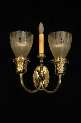 Antique Victorian Circa 1890's Gas & Electric Brass Etched Glass Wall Sconces