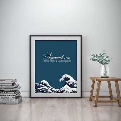 A Smooth Sea Inspirational Wall Art Print Motivational Quote Poster Decor Office