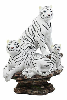 """Large 13.5""""H White Tiger Family On A Rock Statue Wild Animal Figurine Resin"""