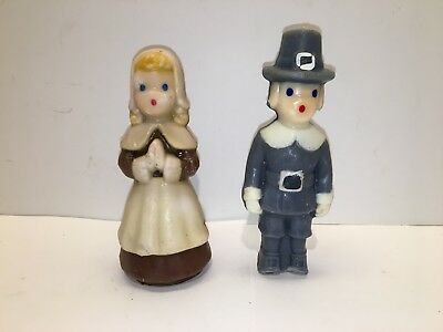 Vintage Pair of Gurley Thanksgiving Candles - Pilgrim Boy and Girl - Free Ship