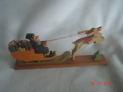 LOVELY DETAILED Vtg. EXPERTIC CARVED WOOD East Germany SANTA & SLEIGH FIGURINE