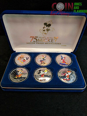 inv#3636 6 PIECE 75 YEARS WITH MICKEY MOUSE FINE (.999) SILVER 1 OZ PROOF COINS