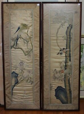Pair Of Antique Chinese Silk Embroidery Panels