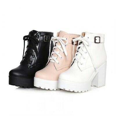 12f98aacbcd4 Gothic Women Chunky Heel Platform Shoes Lace-up Punk Creeper Ankle Boots  Plus Sz