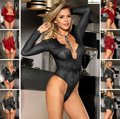 PLUS SIZE DESSOUS | Eyelashes Lace Open-chest Long-sleeved Teddy | XS-4XL R80588