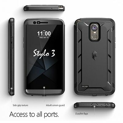 Poetic Revolution Heavy Duty Built-In Screen Protector Case for LG Stylo 3 BLK