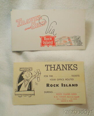 Vintage 1940's ROCK ISLAND Railroad Advertising Ink Blotter & Thank-you Card