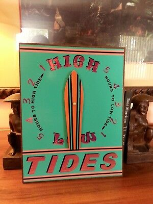 Hand Crafted in the USA!  Surfer Surfboard Tide Clock with a USA made movement