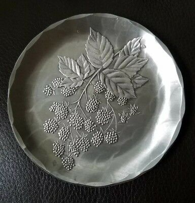 Wendell August coaster/dish/plate/tray. Raspberries. Hand hammered aluminum.