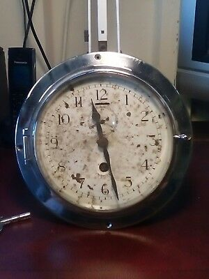 Chrome Over Brass clock by Mercer st Albans with key in working order