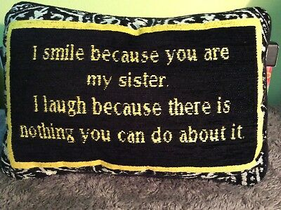 Adorable Damask Sister Friendship Laughter Pillow - PreOwned in Good Condition!