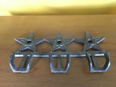 "3 SMALL 4"" BROWN STAR WALL HOOKS ANTIQUE-STYLE CAST IRON western rustic hat coat"