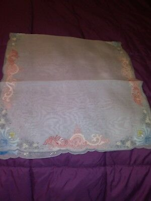 """1 Beautiful Madeira Shadow Work Embroidered Linen/Organdy  Runner. 35"""" By 17"""""""