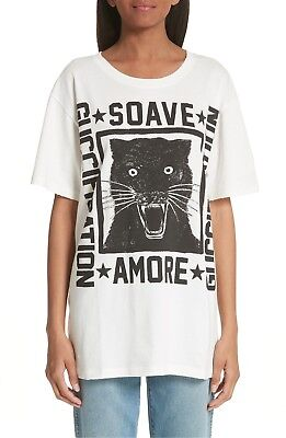 355cdd165dbe 100% AUTH BNWT Gucci Ivory New Graphic Black Cat Xs Tee Shirt ...