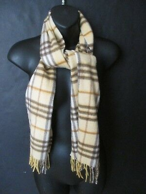 Authentic BURBERRY Camel Check 100% cashmere scarf w fringe Made in England