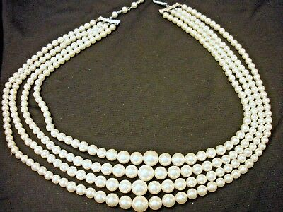 9651150d6ff26 VINTAGE 1950S JAPAN Multi Strand (4) Faux Pearl Necklace Graduated Beads  19-23