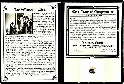 ANCIENT Widow's Mite Coin of King Janeaus, Bronze Lepton,Album,Story & Certif