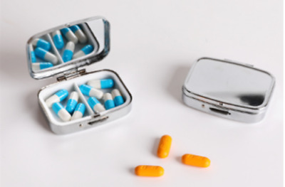 Metal Silver Tablet Pill Box Holder Container Medicine Small Case