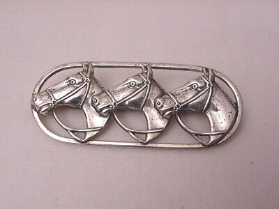 Vintage Danecraft Sterling Silver Three Horse Head Oval Pin Brooch
