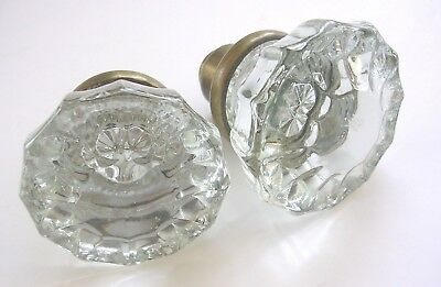 "2 Antique/Vintage Glass Door Knob Doorknobs 2""  12 pt Fluted"