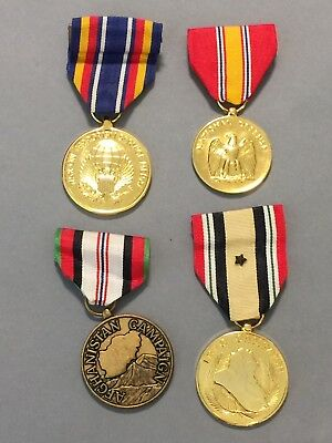 4 Military Ribbon Medals - Afghanistan & Iraqi Campaign, GWOT, National Defense
