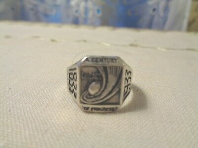 """Awesome 1933 Chicago World'S Fair Sterling Silver Ring """"A Century Of Progress"""""""