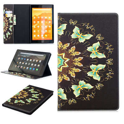 For Amazon Kindle Fire Beau Butterfly PU Leather Wallet Stand Slots Case Cover