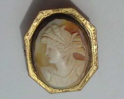 Vintage Etched Gold Tone Octagon Frame Carved Shell Cameo Pin