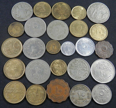 Egypt, 26 Different Type Coins, Old And New