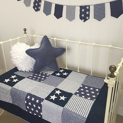 Navy Baby Boys Nursery Cot Quilt Lachlan Coastal Nautical Stars Checks & Stripes