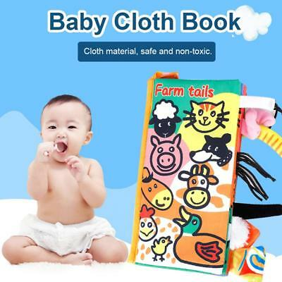 Baby Kids Child Fun Animal Tails Crinkle Fabric Cloth Book Development Toys