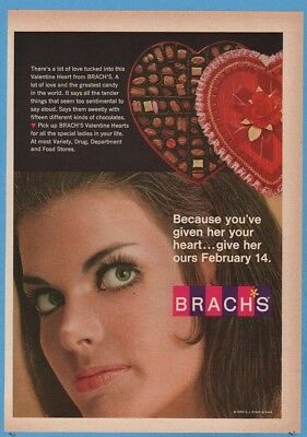 1969 Brach's Valentine Heart Shaped Candy Box vintage photo print ad