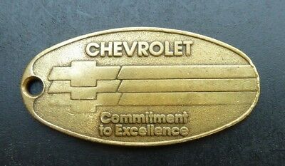 """Vintage Chevrolet Brass Key Return Tag, Ring """"commitment To Excellence"""" Fr.ship"""