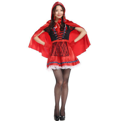 Little Red Riding Hood Costumes Halloween Girls Mini Short Fancy Dress  Cosplay