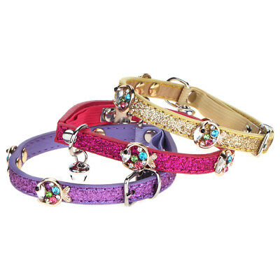 Pet Fish Rhinestone Colorful Flash Cat Kitten Collar with Bell Adjustable WONPET