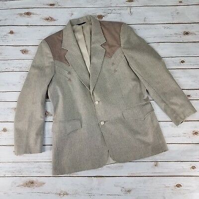 Vintage Pioneer Wear Mens Sz 42 Blazer Western Style Beige Brown Rockabilly