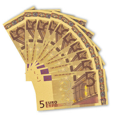 10PCS Gold Banknote Set Euro 5 Color Gold Paper Money Currency Bill Collection
