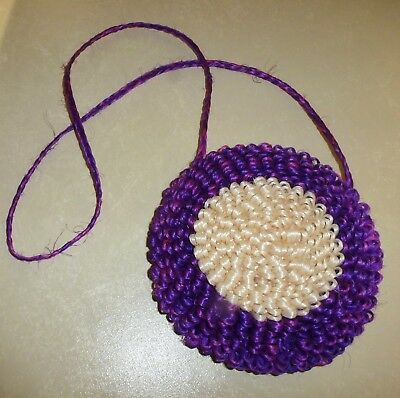 Purple & Beige Reed Handbag/purse - Handmade By Zulu Women In South Africa   New