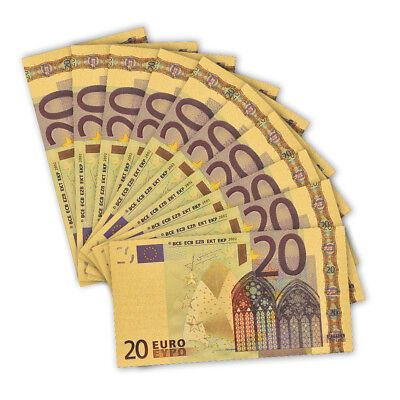 10PCS Banknote Set Euro 20 Gold Banknote Paper Money Worth Collection
