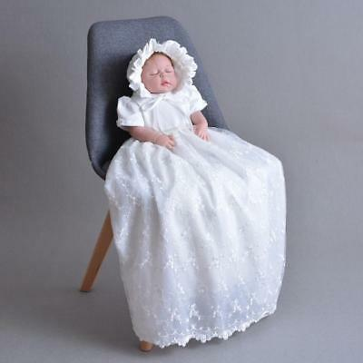Toddler Infant Newborn Baby Baptism Dress Lace Christening Gown Robe with Bonnet