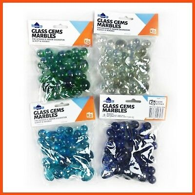 12 x COLOUR GLASS GEMS & MARBLES | Home Décor Arts & Craft Vase Aquarium Fillers