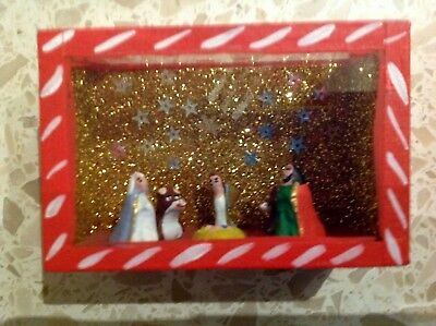 Mexican Folk Art Handmade Miniature Nativity Scene Diorama Box