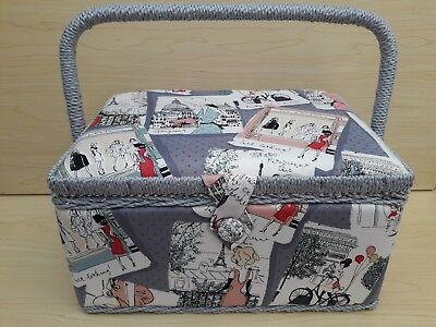 BNWT- Hobby Gift - Fashion Inspiration - Medium Size Fabric Covered  Sewing Box