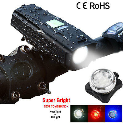 Rechargeable Bright LED Bicycle Bike MTB USB Front Headlight Rear Tail Light Set
